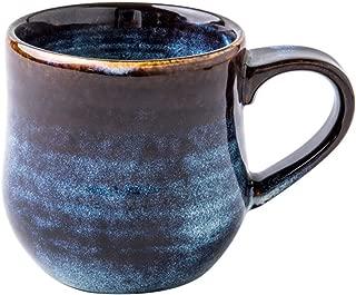 Taza de café Vintage, Pared Gruesa de cerámica, Textura de Hilo en Relieve, Suave y fácil de Limpiar, Azul, 500 ml
