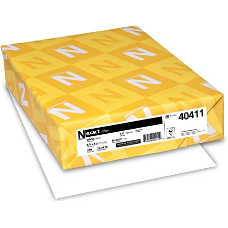 Neenah Exact Index, 110 lb, 8.5 x 11 Inches, 250 Sheets, White, 94 Brightness