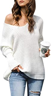 Imysty Womens V Neck Sweaters Oversized Pullover Casual Long Sleeve Knit Jumper Tops