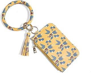 Gsmartive Leopard Keychain Bracelet,Wristlet Key Ring with Card Holder PU Pocket Wallet Purse Tassel Bangle for Woman Girl