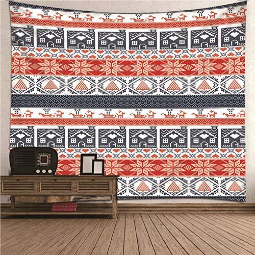 Aimsie Tapiz de pared, diseño retro de flores y casas, toallero, poliéster, decoración de pared, para niñas, color rojo, 260 x 240 cm