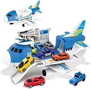 BeebeeRun Transport Cargo Airplane Toys - Car Toys for 3 Year Old Boys, 9 in 1 Take Apart Plane Toys Including 8 Sports Cars and 1 Helicopter, Gift for Kids