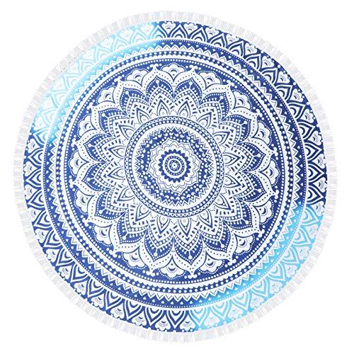 QYX Toalla De Playa Redonda con Mandala Azul 150x150cm Azul Morado Indio Gitano Hippie Manta De Playa Esterilla De Picnic En La Playa Adecuada para Personas Adultas De Yoga