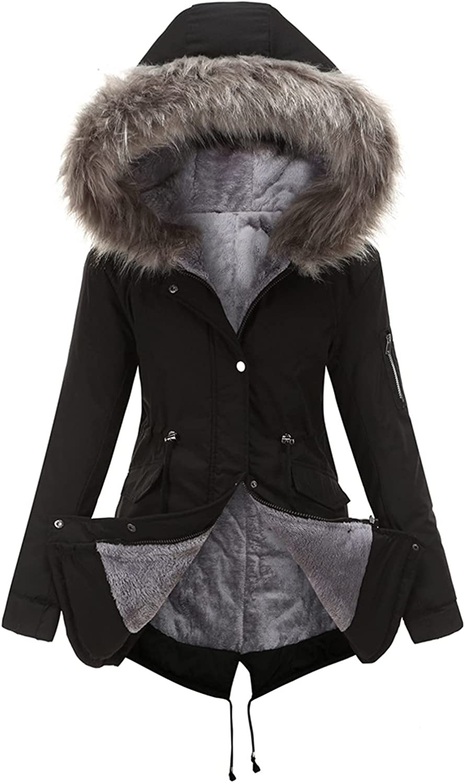 Women's Parker Coat Medium Long Hooded Warm Plus Fleece Long Sleeve Solid Color Jacket