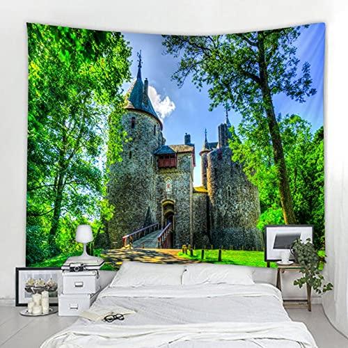 Naturaleza Árbol Tapiz Montaje en pared Bosque Castillo Cuento de hadas Hippie Montaje en pared Estilo bohemio Hogar Ranch Art Deco A5 180x230cm