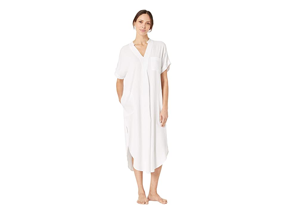 Donna Karan Maxi Shirt (White Seersucker) Women