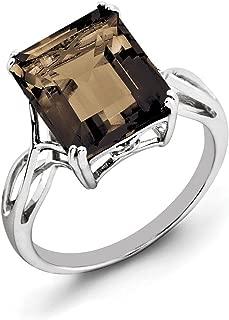 Black Bow Jewelry Octagonal Smokey Quartz Ring in Sterling Silver