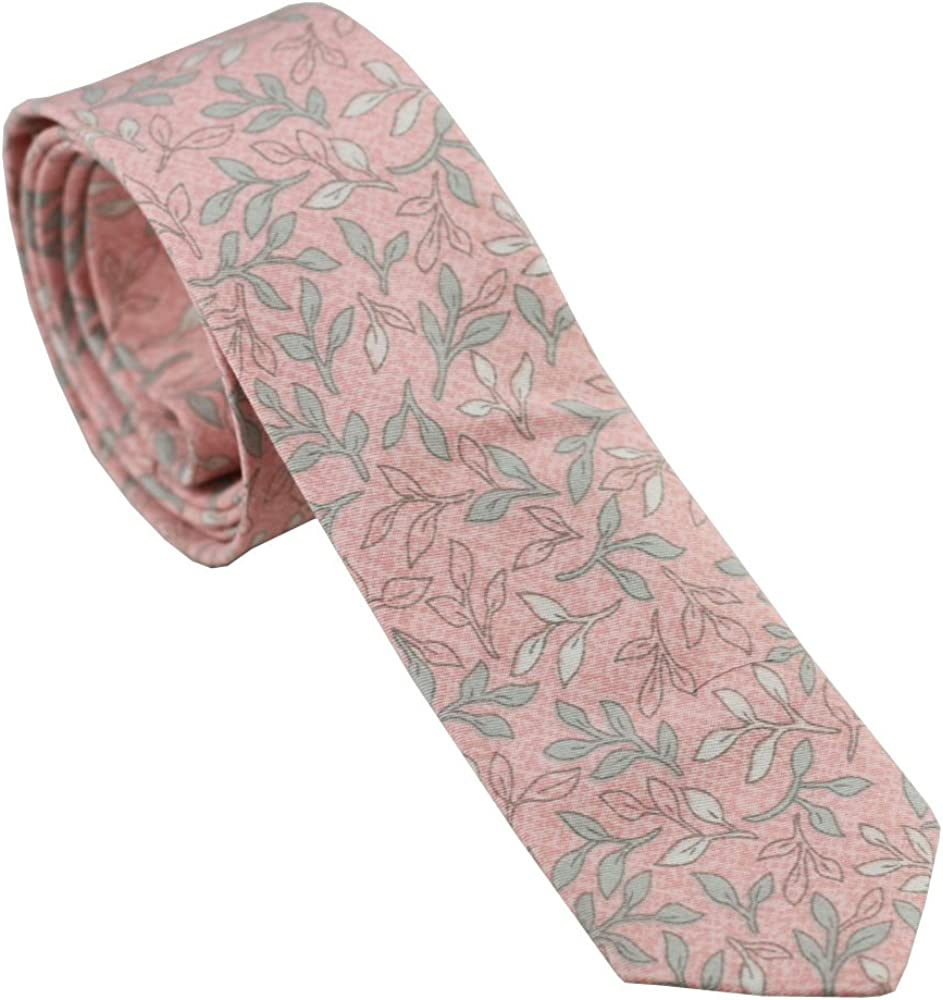 Coachella Ties Light Pink leaf Cotton Necktie Skinny Tie Pocket Square Bowtie