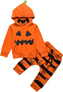 Toddler Newborn Baby Halloween Ghost Costume Clothes Pumpkin Smiles Cotton Hoodie Tops + Stripe Pants Sets 2PCS Outfits