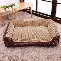 高級 犬 小屋 ペット ベッド,犬 ベッドマット クッション ラウンジチェア リムーバブル カバー 快適な 通気性 小さい,ミディアムドッグマット-コーヒー色 90x70x25cm(35x28x10inch)