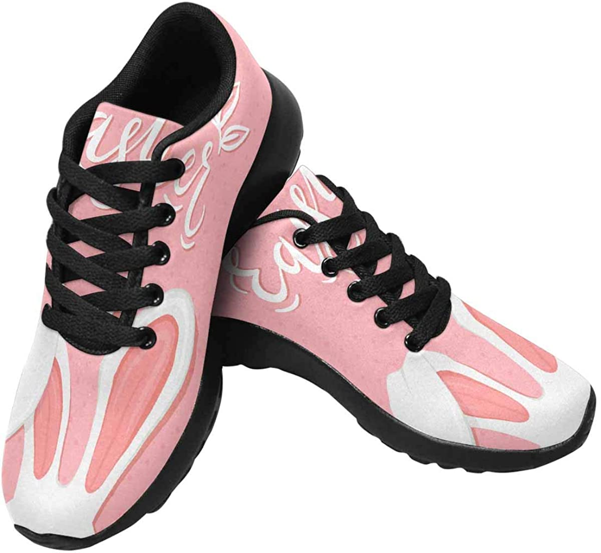 InterestPrint Cute Easter Rabbit with Ears Women's Running Shoes - Casual Breathable Athletic Tennis Sneakers