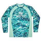 Mossy Oak Herren Fishing Shirts for Men Long Sleeve with UPF 40+ Sun Protection Hemd, Seafoam, Large
