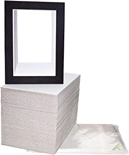 Pack of 100 5x7 BLACK Picture Mats Mattes with White Core Bevel Cut for 4x6 Photo + Back + Bags