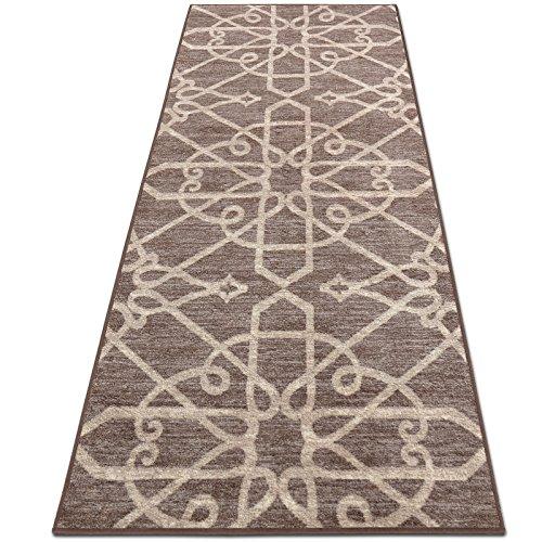 casa pura Alfombra Diseño Marroquí - Alfombras Largas de Diseño | NAVELLI | Alfombra Árabe Antideslizante | 100% Poliamida | 16 Tamaños, (Marrón, 80x100cm)