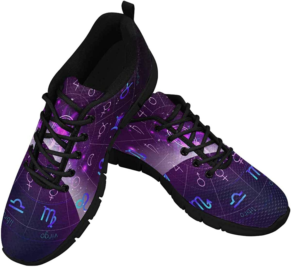 InterestPrint Horoscope Circle, Zodiac Signs Women's Breathable Sneaker