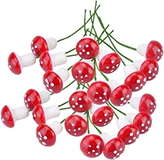 yueton Pack of 100 Mini Foam Mushroom for Garden Ornament Flower Pots Bonsai Micro Landscape Decor (Red)