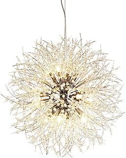 Berlato Contemporary Firework Crystal Chandeliers Simple Dandelion Ceiling 8 Pcs Lights Fixtures for Living Room Bedroom W40CM-H40CM Suspension line 100CM Sdjustable (Silver)