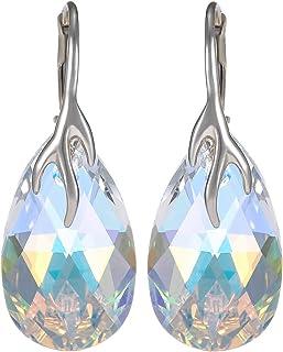 Crystal Diva Women's Silver Crystal Swarovski Elements Earrings