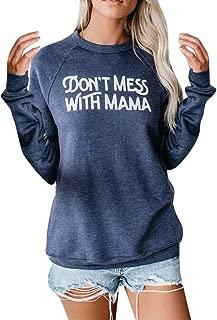 Women Long Sleeve Sweatshirt Tops Letter Print Pullover Shirts Casual Cute Tunic Blouse Gogoodgo
