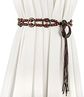 Women Bohemian Chain Wood Waist Belt With Dress and Sweater Knotted Decorated