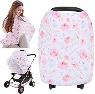 Nursing Cover For Baby Breastfeeding - Car Seat Canopy - All-In-1 Soft Breathable Stretchy Carseat Canopy - Infinity Nursi...