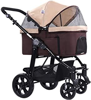 Zzyff Pet Stroller, Large Portable Folding Help Dog Trolley, Dog Cat Stroller, Baby Cage Car, Four-Wheel Shockproof Pet Travel Outdoor Wagon, Bearing 25kg Durable