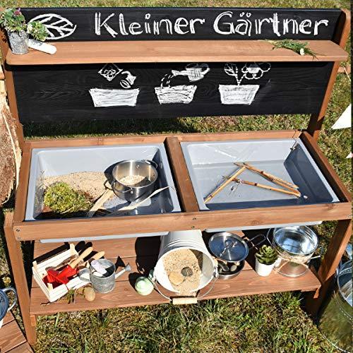 Meppi Matschküche Kleiner Gärtner, braun aus Holz, Outdoor-Küche - 3