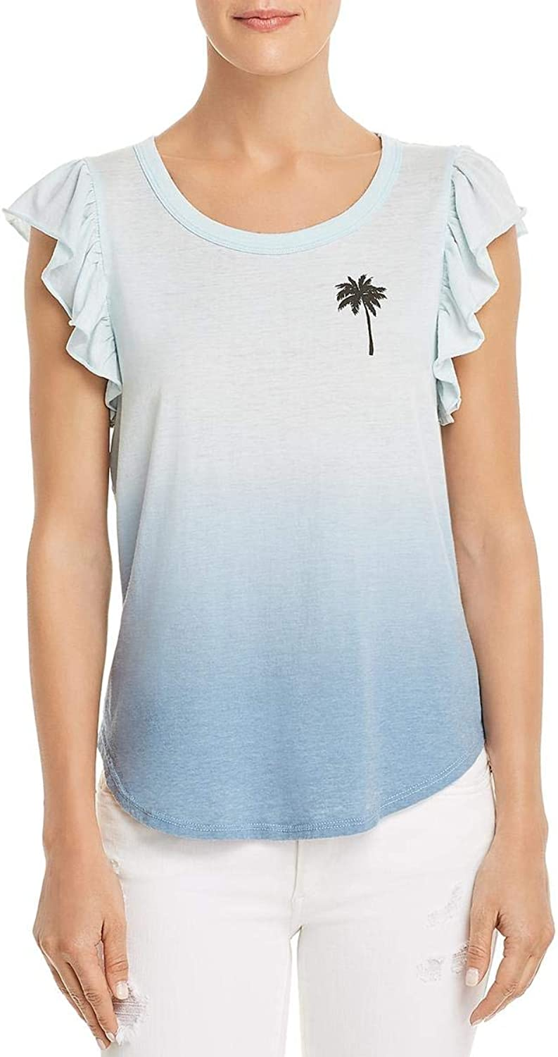 Chaser Womens Ombre Ruffle Sleeves Graphic TShirt