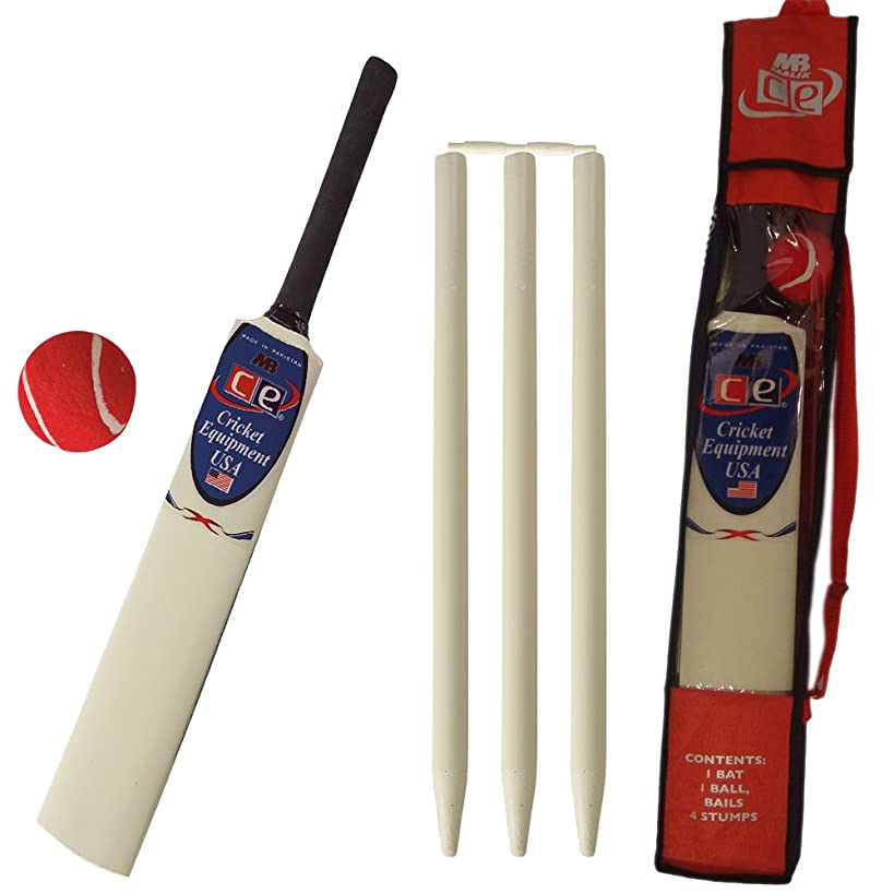 CE Young American Cricket Gift Set for Kids by Cricket Equipment USA - Size 4