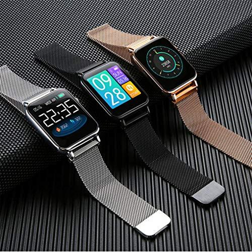 Leoboone Y6pro Bracelet connecté étanche avec écran couleur en temps réel de surveillance du sommeil Ip67, Leoboone, Leoboone, Argenté (bande en acier).