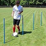 Superspieler24 5 x Slalomstange 100 cm mit Metallspitze, ø 32 mm (blau), Fußballtraining