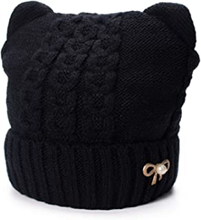 Winter Hats Women Skullies Bow Brooch Wool Blend Hat Soft Warm Fleece Inside Knitted Hat Cat Ear Pussy Cap
