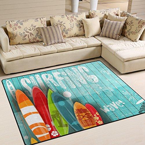 Use7 Alfombra de surf vintage elegante para sala de estar, dormitorio, 160 cm x 122 cm
