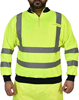 True Face Mens Hi Viz Sweatshirt High Visibility Fleece Zip Work Reflective Winter Top Yellow X- Large