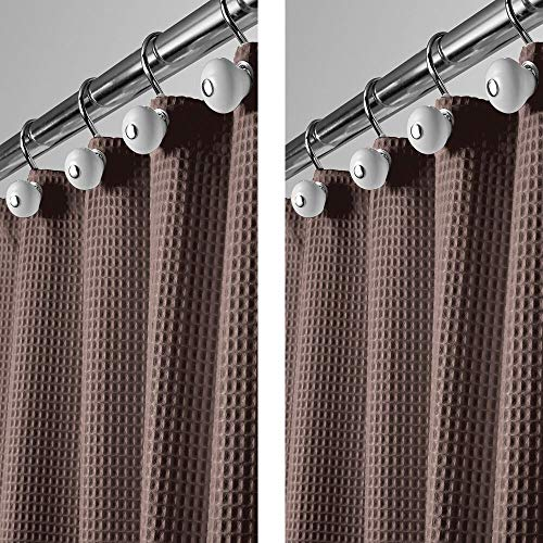 mDesign Langer Polyester-/Baumwoll-Mischgewebe Duschvorhang mit Waffelgewebe & rostfreien Metallösen für Badezimmer Dusche & Badewanne, 182,9 x 213,4 cm, Schokoladenbraun