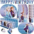 Frozen Party Supplies, Decorations and Favors for Birthday, Serves 16 Guests, Easy Setup and Takedown with Table Cover, Plates, Napkins & More from Unique