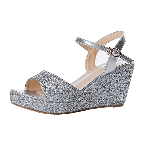 2ac44446a77 Silver Wide Width Wedge Sandals: Amazon.com
