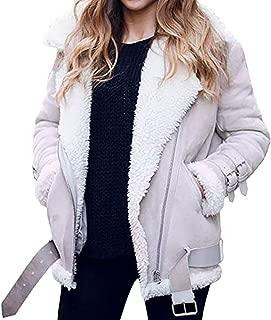 Women Faux Fur Fleece Coat Winter Warm Outwear Lapel Biker Motor Jacket E-Scenery