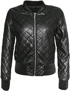 Women Leather Jacket Black Bomber Lozenge Faux Leather Jacket Jack Motorcycle Coat Femininas