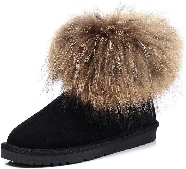 Ailj Snow Boots, Ladies Outdoor Leather Plush One Boots Thick Warm Cotton shoes Boots (3 colors) (color   Black, Size   36 EU 4.5 US 3.5 UK 23cm JP)