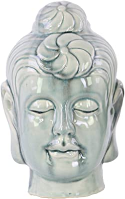 Urban Trends Ceramic Buddha Head with Bun Ushnisha in LG Gloss Finish, Ash Gray