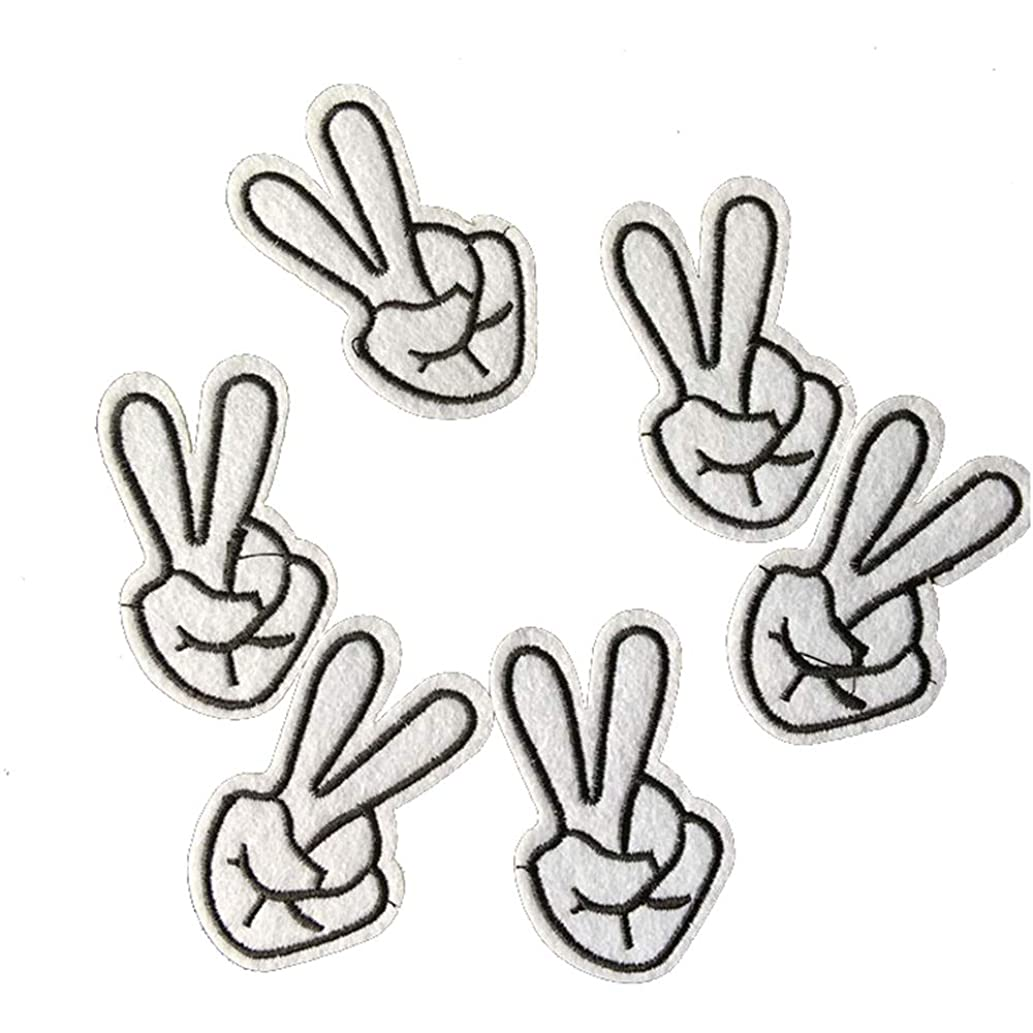 2 Pcs Yes Gesture Delicate Embroidered Patches, Cute Embroidery Patches, Iron On Patches, Sew On Applique Patch,Cool Patches for Men, Women, Kids