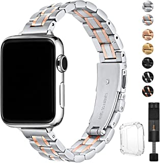 STIROLL Thin Replacement Band Compatible for Apple Watch 38mm 40mm 42mm 44mm, Stainless Steel Metal Wristband Women Men for iWatch 5/4/3/2/1 (Silver+Rose Gold, 38mm/40mm)
