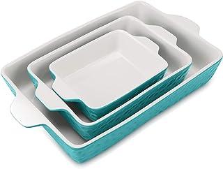 Sponsored Ad - EZYCOK Ceramic Bakeware Set, Rectangular Baking Dish Lasagna Pans for Cooking, Kitchen, Cake Dinner, Banque...