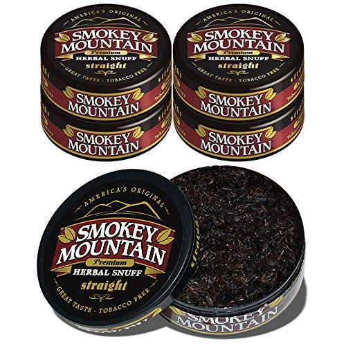 Smokey Mountain Herbal Snuff - Straight - 5 Cans - Nicotine-Free and Tobacco-Free