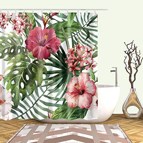 Grüne Pflanze Distel weiß Muster Hauptdekoration Duschvorhang Mold Proof Resistant & Dick Wasserdichtes Gewebe Waschbar 3D Polyester Badezimmermit 12 Haken
