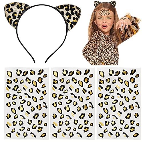 Tuoyi 3pcs Black Golden Leopard Print Temporary Tattoo, Cheetah Tattoo Stickers and Cat Ears Handband, Festival Costume Party Supplies