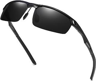DUCO Herren Sport Stil Polarisierte Sonnenbrille Metallrahmen Brille 8550