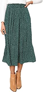 Exlura Womens High Waist Polka Dot Pleated Skirt Midi Maxi Swing Skirt with Pockets