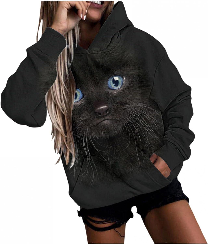 Masbird Fashion Hoodies for Women,Women's Oversized Long Sleeve Cat Dog Print Pullover Sweatshirts Anime Cool Hoodies